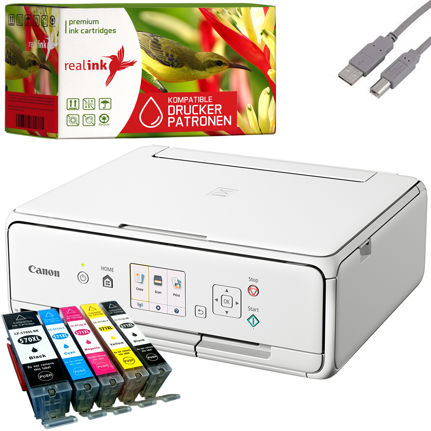 Canon-PIXMA-TS5051-Multifunktionsgeraet-Drucker-Scanner-Kopierer-weiss-5-Tinten